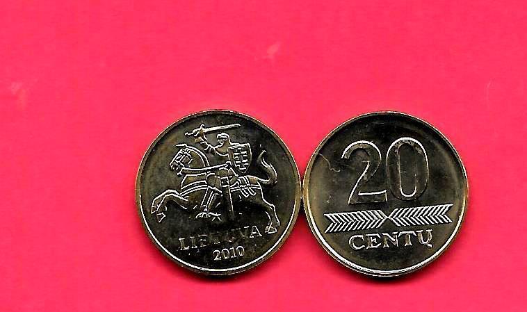 LITHUANIA KM107 2010 UNC-UNCIRCULATED 20 CENTU MINT COIN