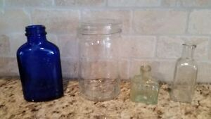 Collection of Four Small Antique Bottles & Jar