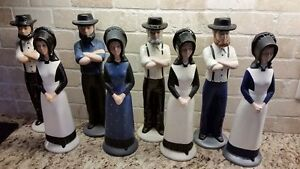 Hand Painted Ceramic Amish/Mennonite Couple Statues