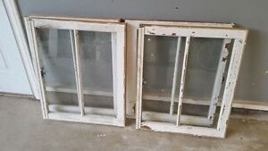 Pair of old wood & glass windows