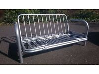 Deluxe Grey Metal Futon Frame 3 position . turn to double bed. Bargain!