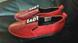 "Never Worn Red Leather Ladies EU Size 38 ""LOVE"" Shoes"
