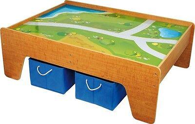 Spieltisch Eisenbahn aus Holz Straßen Wiesen Gewässer Boxen ca 119 x 82 x 41 Neu