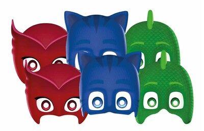 Pj Masken Lizenzierte Kombi-Packung mit 6 Party Gesichtsmaske - - Kostüm Mit Karton