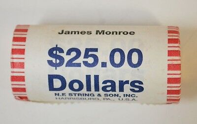 2008 James Monroe Presidential  Unopened  Bank Wrapped Dollar 25 Coin Roll