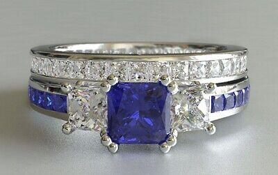 - 3.3ct Princess Cut Blue Sapphire Bridal Set Trilogy Ring Band 14k WhiteGold Over
