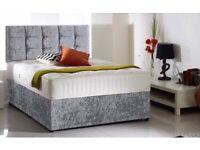 Memory foam bed complete crushed velvet Double or Kingsize