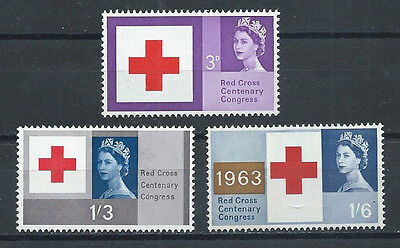 GREAT BRITAIN , RED CROSS , 1963 , 100 YEAR ANNIV., SET OF 3 , PERF, MNH