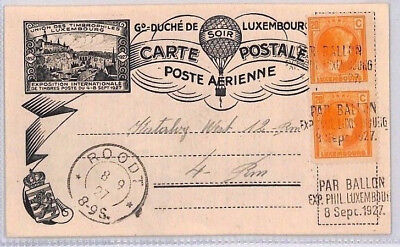 BP44 1927 LUXEMBOURG Roodt BALLOON POST Card EXHIBITION *PAR BALLON* Cancels