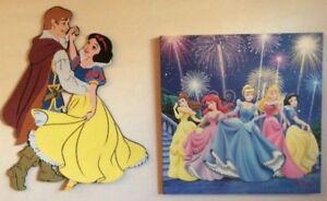 2 Disney Princesses décorations pour jeunes filles. Tableau