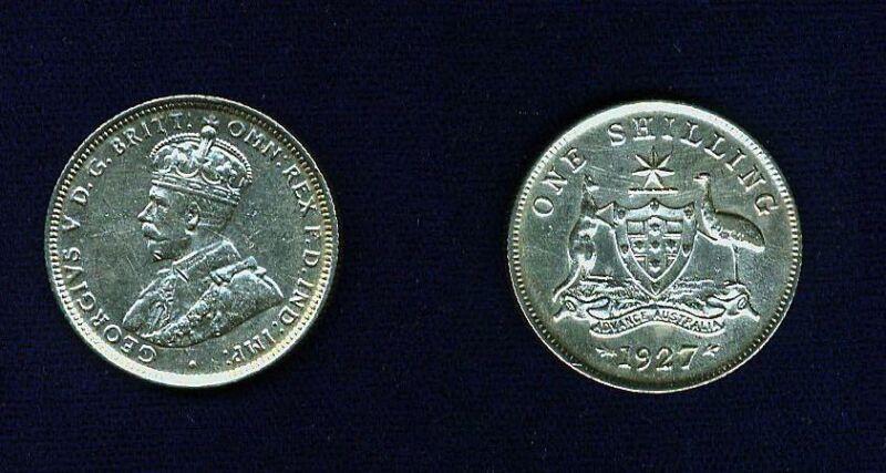 AUSTRALIA GEORGE V  1927  1 SHILLING SILVER COIN  XF, KM#26, VERY NICE!!!