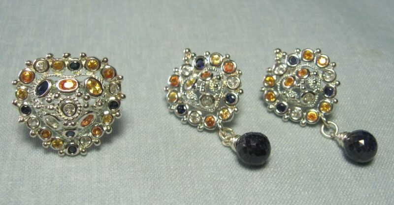 925 Sterling Silver Heart Earrings and Ring w Semi Precious Sets  INDIA  17.6 gr