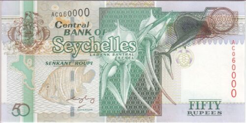 SEYCHELLES BANKNOTE P 38-0000  50 RUPEES   CUTE NUMBER,  EF,  WE COMBINE