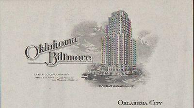 C1920s Vintage Letterhead   Oklahoma Biltmore Hotel   Oklahoma City Ok Ephemera