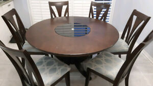 Solid Wood 7pc Round Dining Set c/w lazy susan inlay