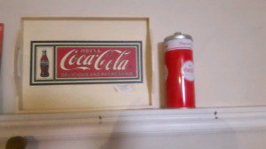 coca cola tray and a straw holder