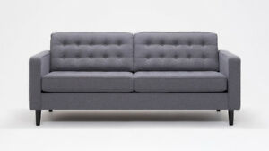 SOLD PENDING PICK UP. EQ3 Reverie Sofa w/ button-tufting in grey