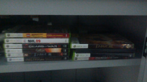 Xbox 360 with games, controllers and battery charger