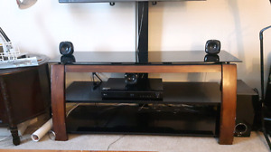 "40"" SONY TV and black glass stand"