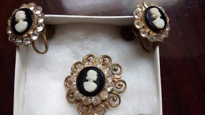 Coro Cameo Brooch and Earring Set