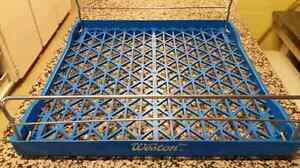 Blue collapsing stackable bakery bread trays/racks