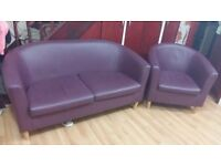 Used Set of Two seater + One seater Tub Sofa In Chocolate Brown Faux Leather