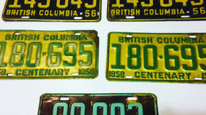 British Columbia License Plate 1858 - 1958 Centenary $132