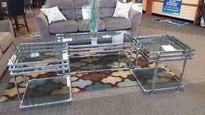 Beautiful chrome cocktail table and end tables