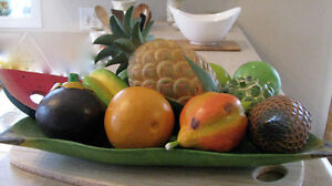 Carved exotic fruits