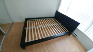 IKEA MALM bed and mattress black/brown