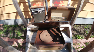 Two vintage radios and record player $25!!!