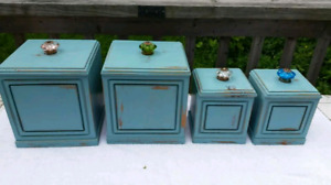 Shabby Chic Wooden Kitchen Canisters