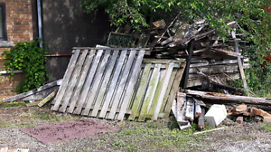 FREE wood fence boards full sections and posts