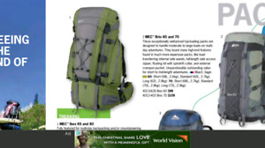 MEC backpacks, 60L and 65L for trekking and mountaineering