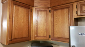 Wood kitchen cupboards