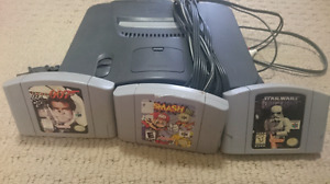 N64 for sale with 3 games