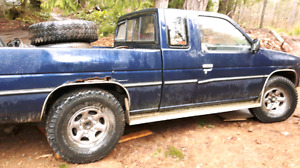 1990 NISSAN PICKUP KING CAB BLUE, RUNS, NEW STARTER AND BATTERY