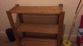 Solid pine slatted 3 tier shelf unit