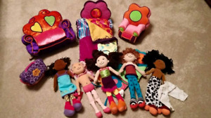 Batch of Groovy Girls dolls-bed-couch-chair-kennel- sleeping bag