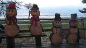 Wooden log Christmas Snow man delivered to you door! Kingston Kingston Area image 1