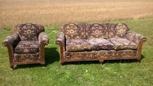 vintage couch and chair.