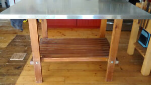 Kitchen Island / Prep Table with Stainless Steel Top