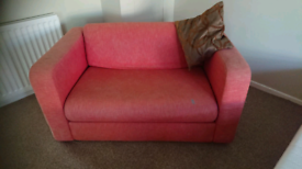Red fabric sofa W 140cm Good condition Can deliver or collection