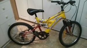 """Boys 20"""" 6sp bike for 6-9yr old with front/rear shocks, nice re"""