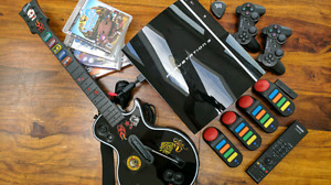 PlayStation 3 w/Guitar Hero & Buzz Game