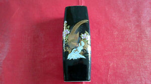 Small Black Vase with Japanese Motif