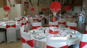 chair cover, tablecloth, sashes: rental mariage decoration promo
