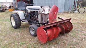 White snowblower garden tractor