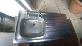 Stainless steel left side sink