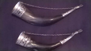 RARE UNIQUE SET RUSSIAN .875 NIELLO DRINK HORNS OF KUBACHI